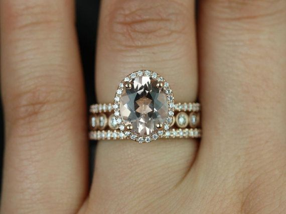 Original Jessica & Bubbles 14kt Rose Gold Oval Morganite and Diamonds Halo TRIO Wedding Set (Other metals and stone options available)