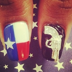 Texas flag gun nail art I would want an American flag though