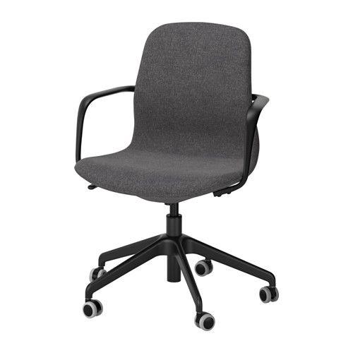 IKEA - LÅNGFJÄLL, Chaise pivotante, Gunnared gris foncé, noir, , Un siège de bureau ergonomique aux lignes courbes, avec des surpiqûres soignées et un mécanisme simple d'utilisation dissimulé sous l'assise pour conserver toute l'esthétique.Vous pouvez vous adosser de manière optimale du fait que la tension d'inclinaison facilement réglable avec une clé Allen vous permet d'adapter la résistance à vos mouvements et à votre poids.Le soutien lombaire ...