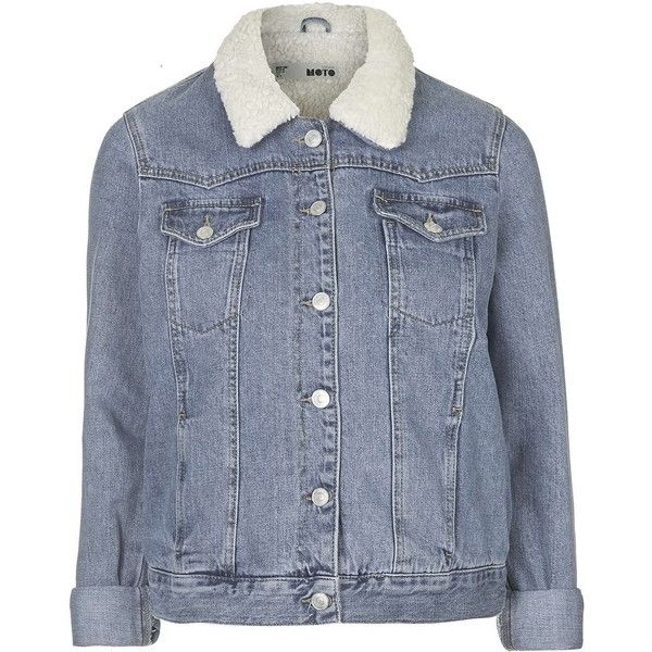 TOPSHOP MOTO Vintage Borg Western Jacket ($89) ❤ liked on Polyvore featuring outerwear, jackets, mid stone, topshop, blue jackets, collar jacket, vintage jacket and western jacket