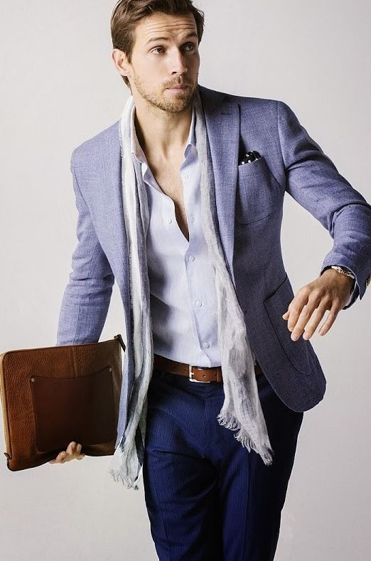 Shop this look for $375:  http://lookastic.com/men/looks/pocket-square-and-belt-and-scarf-and-longsleeve-shirt-and-blazer-and-dress-pants/1504  — Black Polka Dot Pocket Square  — Brown Leather Belt  — Grey Scarf  — White Longsleeve Shirt  — Light Blue Blazer  — Navy Dress Pants