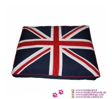 Cojín Desenfundable para Perro con Bandera Inglés - Cojín para perro mediano y grande de forma rectangular con la bandera del Reino Unido en la cara superior; en 3 dimensiones, desenfundable