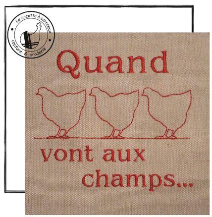 Broderie machine à télécharger - Quand 3 poules vont aux champs...