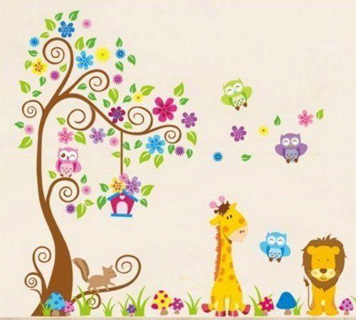 Wandtattoo Dschungel Wald Löwe Giraffe, Eichhörnchen Eule auf bunten Baum Wandsticker für Kinderzimmer Kindergarten Schlafzimmer von Wandaufkleber, http://www.amazon.de/dp/B00IA2OR4U/ref=cm_sw_r_pi_dp_whSvtb1TKY6CP