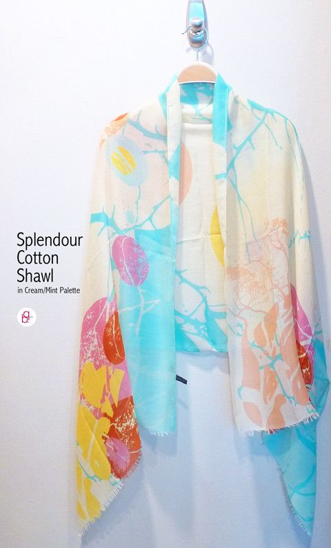 Splendour Cotton Shawl in Cream Mint Palette. Shawl is a very versatile accessory. You can use it to shield yourself from the harsh cold air in air-conditioned places, like the movie theatres. You can use it as a sash for your denim skirts too. Now available in store.