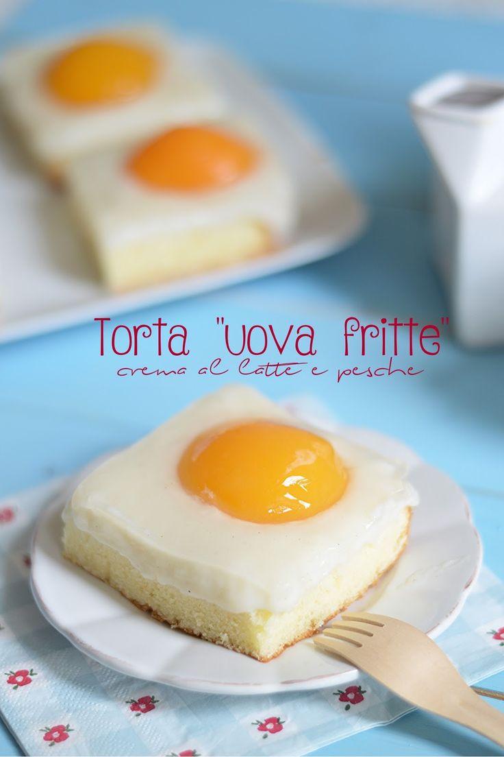 """Sprinkles Dress: Torta """"uova fritte"""" con crema al latte e pesche"""