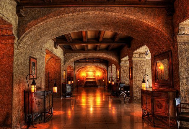 This is a cool hallway in a medieval section of the Banff Springs Hotel.