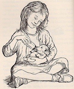 Picture of Wilbur and Fern from Garth Williams illustration in Charlotte's Web.