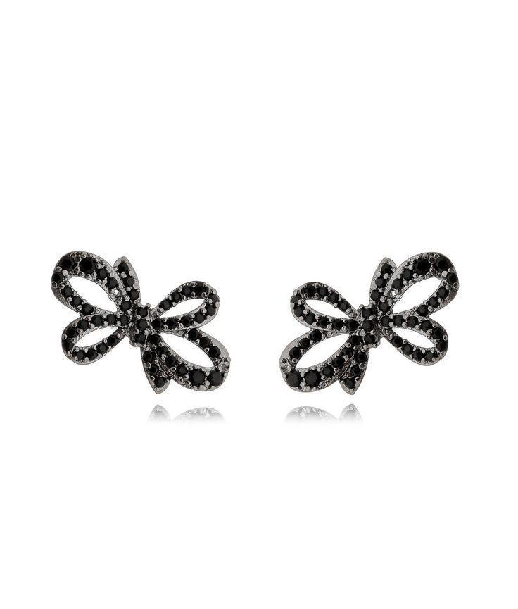 Brinco de laço zirconias pretas rodio negro semi joia de luxo