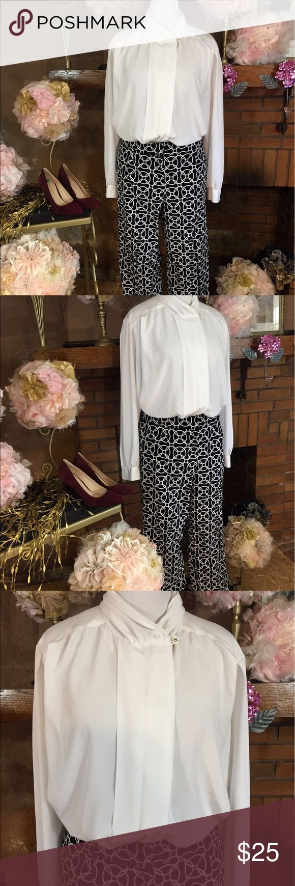 Talbots Woman Petite trousers vintage top Talbots Woman Petite black and white, velour, geometric print, straight leg trousers size 16P. Approx measurements are 38 inch waist and 28 inch inseam. See pictures for material composition. Vintage Chaus Woman white button down shirt sz 20W. Approx measurements are 50 inch circumference and 30 inches long. Both are previously owned but in good condition. Shoes are available for sale in another listing. Outfit priced as a whole but can separate…