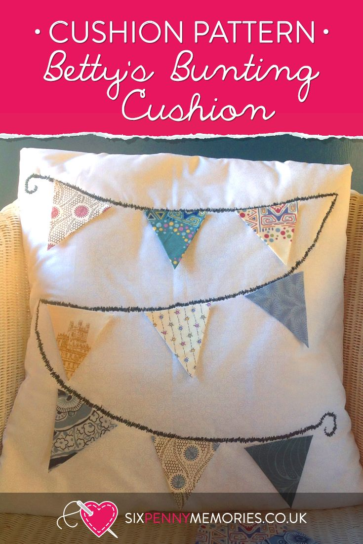 Betty's Bunting Cushion by Six Penny Memories
