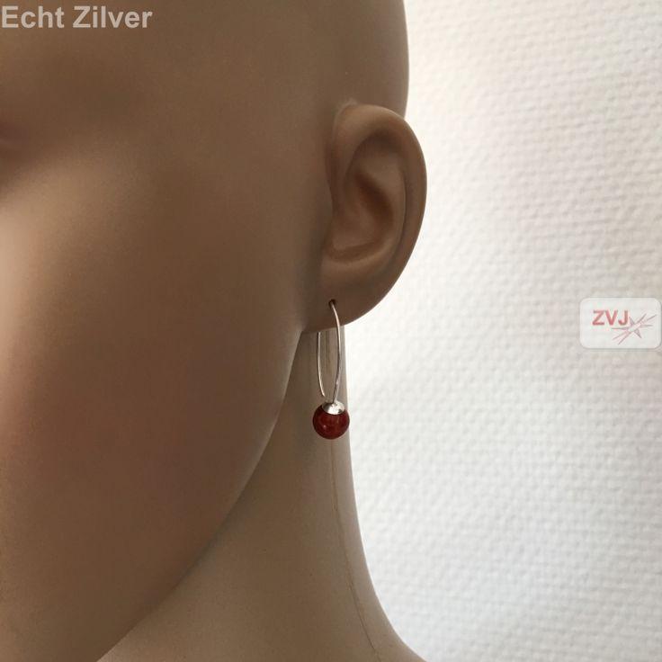 Zilveren rood spons koraal oorbellen hangers grote haak €11.95 inclusier verzenden - ZilverVoorJou Echt 925 zilveren sieraden