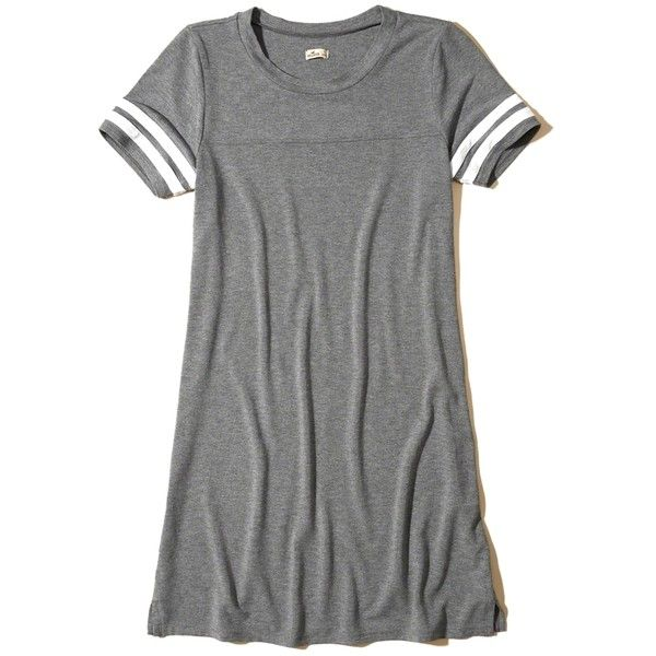 Hollister Stripe Sleeve T-Shirt Dress (£15) ❤ liked on Polyvore featuring dresses, heather grey, crew neck t shirt dress, stripe t shirt dress, tee shirt dress, striped tee shirt dress and sleeved dresses