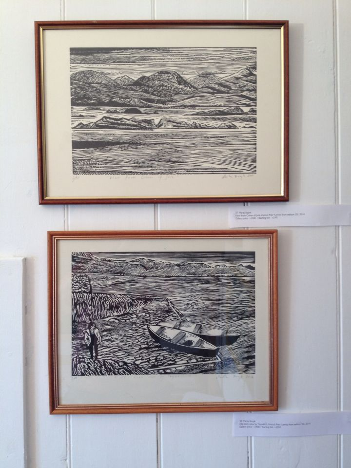 2 prints from Scotland, view of Jura from Crinan_ linocut 35x40cm_2014 & Old docks near by Teyvallich_linocut 35x45cm_2014, Marta Bozyk