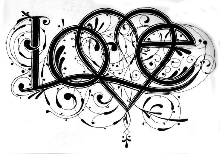 Love - done by ~jeremychristensen on deviantART . . . . ღTrish W ~ http://www.pinterest.com/trishw/ . . . . #doodle #flourish #hand_lettering