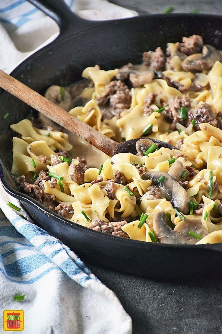 Ready in just 30 minutes, our Ground Beef Stroganoff is an easy recipe perfect for any night of the week. This budget-friendly twist on a traditional beef stroganoff recipe uses fresh ingredients for big flavor! No soup can in this recipe! A family favorite perfect for your Sunday supper!