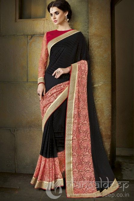 http://www.mangaldeep.co.in/sarees/cheerful-black-designer-party-wear-saree-4624 For further inquiry whatsapp or call at +919377222211