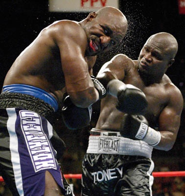 Putting that right hand on Evander Holyfield.