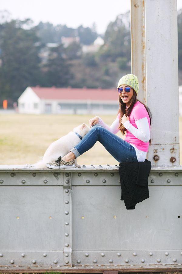 A neon, casual, cozy, weekend look! See all the outfit details and links to purchase on the blog --> www.glamourhouse.com/casual-cozy-friday  #7forallmankind #jeans, #neon #cashmere sweater from #jcrew, neon #beanie #hat from #asos, #carrera #sunglasses and #vans #leopard #sneakers!