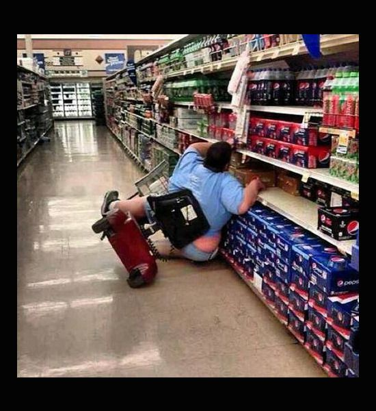 funny walmart people, scooter crash....lol I've fallen and I can't get up