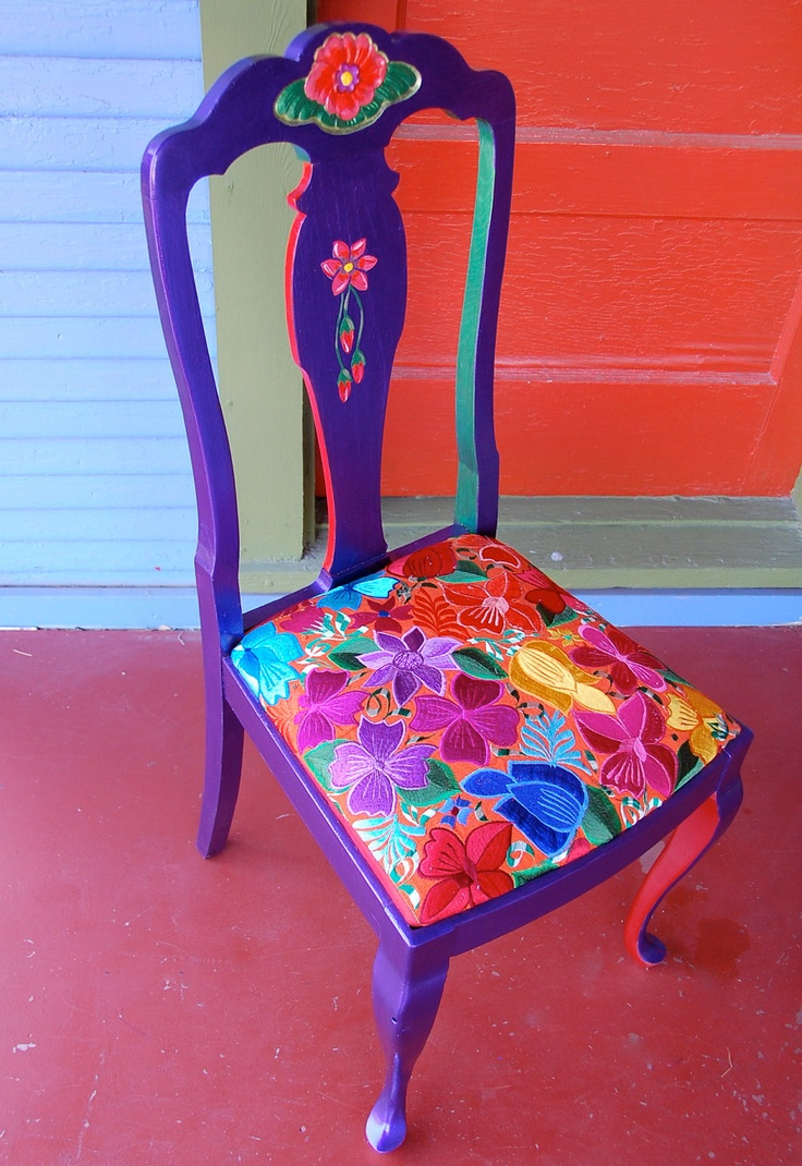 Brightly Painted and Embroidered Purple Chair.