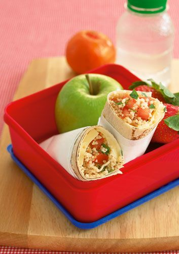 These tasty nutritious cheese tabouleh wraps are rich in calcium from the cheese, and beta-carotene, folate and vitamin C from the tabouleh.