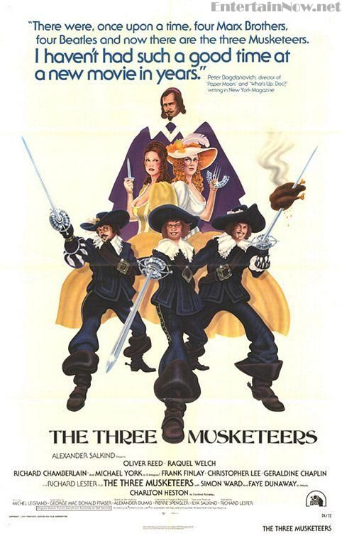 """Director Richard Lester's superb """"The Three Musketeers"""" (1973) written by George Macdonald Fraser (writer of the 'Flashman' novels). With an all-star cast: Michael York. Charleton Heston, Faye Dunaway, Raquel Welch, Oliver Reed, Richard Chamberlain, Christopher Lee, Geraldine Chaplin."""