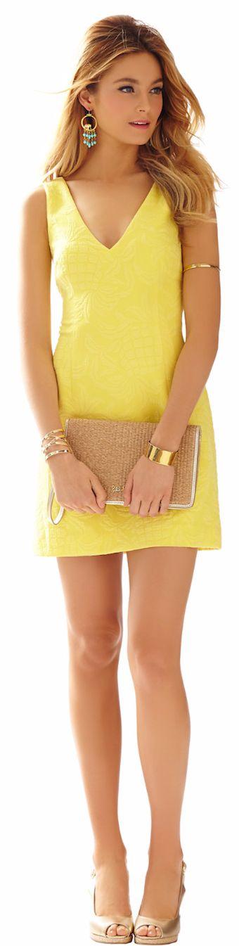 Simple Yellow V-neck Mini Dress.
