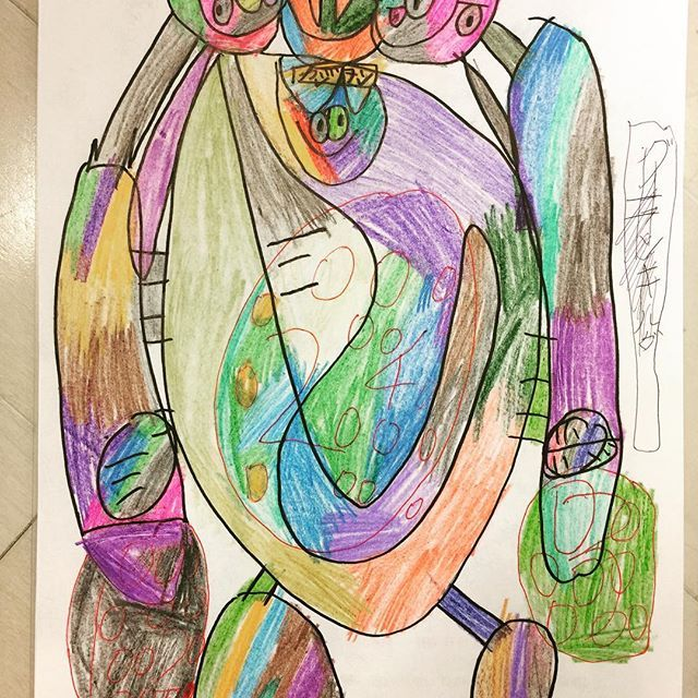ビックキルダー3 #空想の悪者#頭の中の物語 #ジエンドドラゴンの子ども #二男くん#中2男子 #真ん中の顔が好き#その子の名はカジョン #自閉症#発達障がい#知的障がい #色鉛筆画#猛スピードで描く #カラフル
