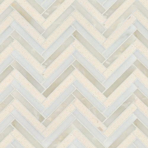 Artistic Tile | Four Color Herringbone Linea Mixed Finish Mosaic