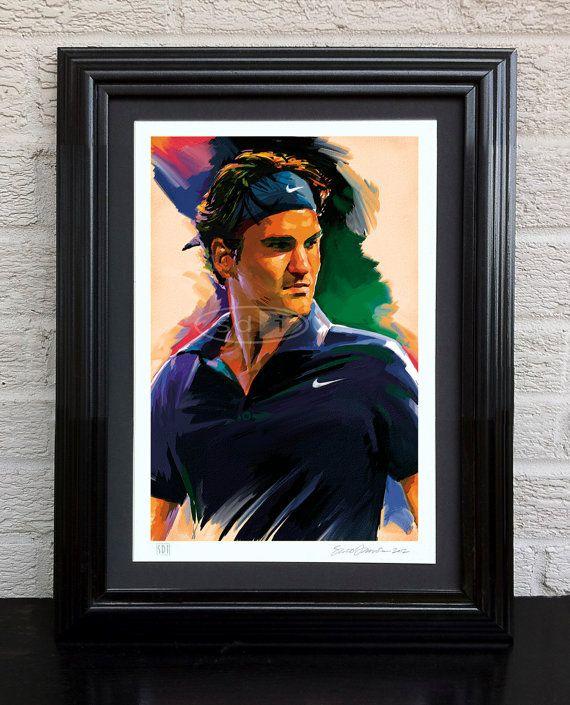 Roger Federer tennis sports art poster by ScottDawsonArtPrints, $55.00