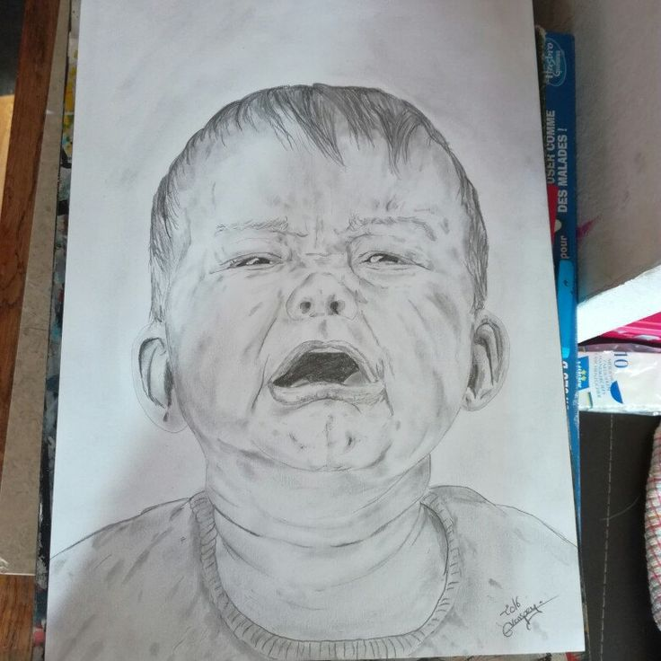 """First drawing """"crying baby"""" A3 #art #artist  #fineart  #portrait #baby #pencil #drawing  #realistic"""