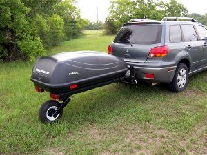 The Swivel wheel is the most unique single wheel trailer designed. Allows for a 1000 pound load capacity. Will always track with the tow vehicle. Cannot fishtail or jackknife.