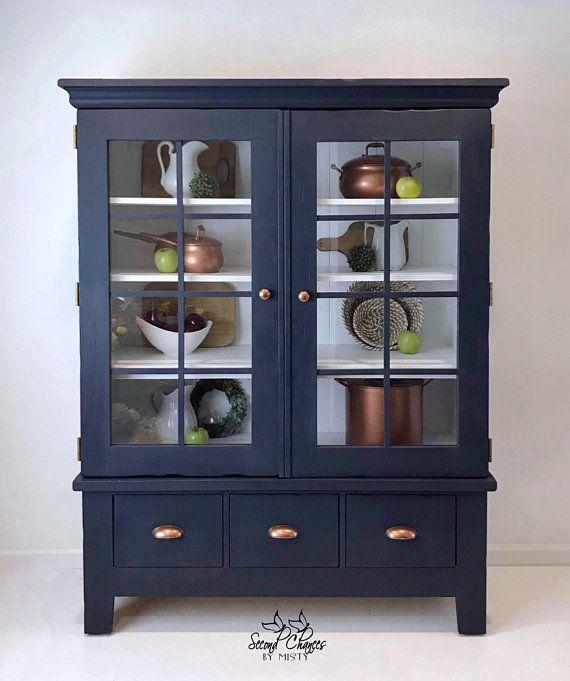 Storage Cabinet Linen Quilt Closet China Entryway Modern Farmhouse Navy Blue