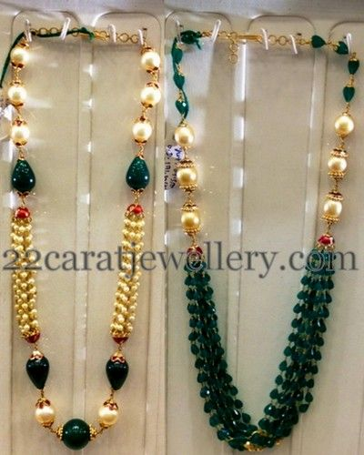 Jewellery Designs: Emeralds Drops Highlighted Simple Sets