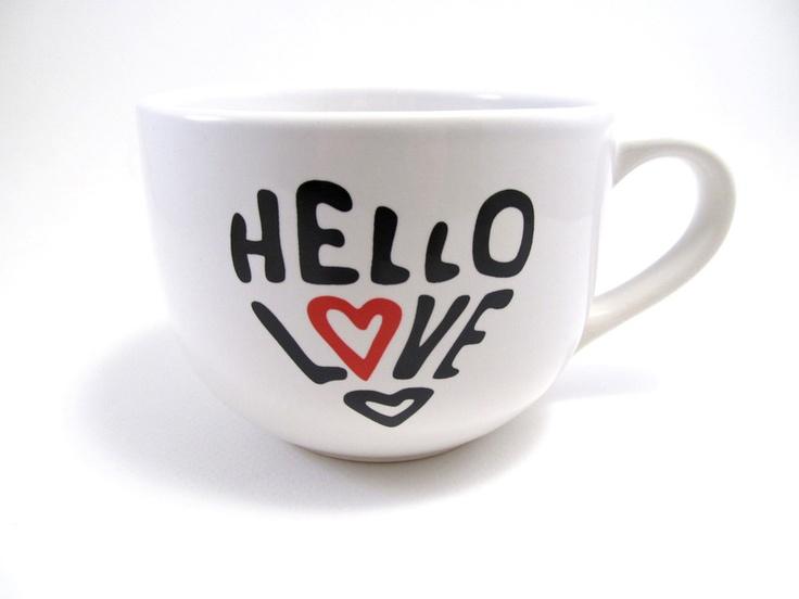 Hello Love Extra Large Cappuccino Mug