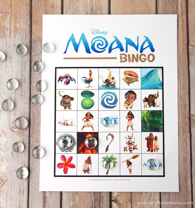 Free Printable Disney Moana Bingo is great for parties!