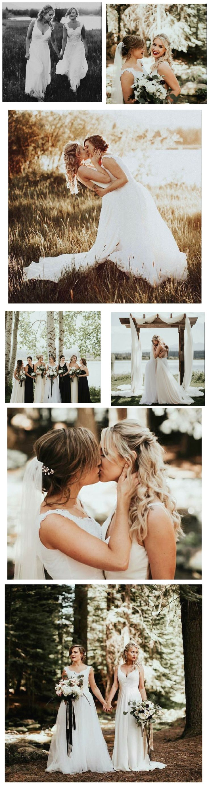 Two gorgeous brides Erin & Madison. A lesbian wedding to be inspired by. Photography by Victoria Carlson Photography Wedding Goals, Dream Wedding, Wedding Day, Wedding Ceremony, Wedding Menu, Trendy Wedding, Lesbian Love, Lesbian Couples, Muslim Couples