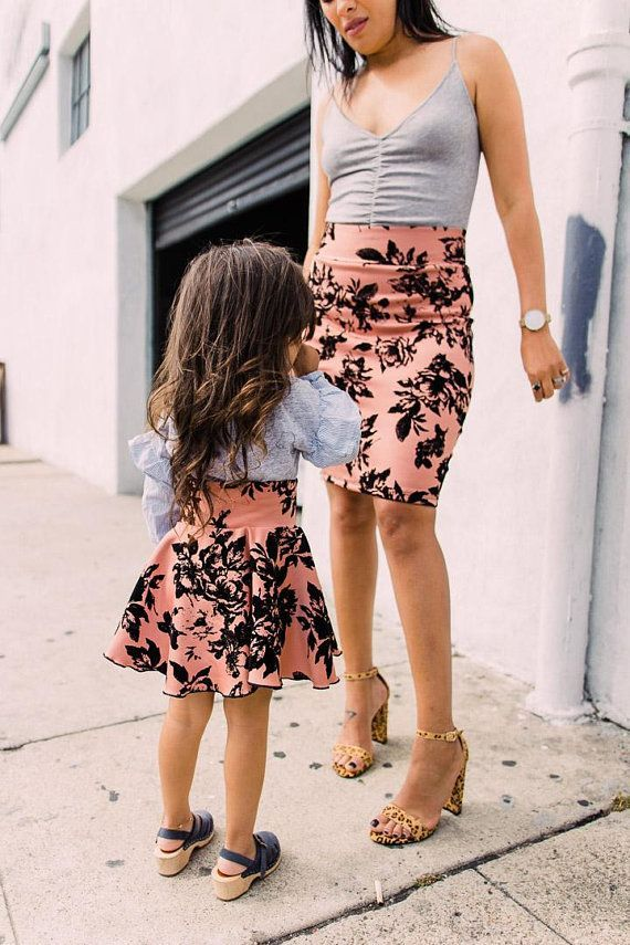 df457c44d Mommy and me beige skirts, beige and black skirts for mommy and me outfit,  matching mom baby skirt, skirt for girls, mother daughter skirt