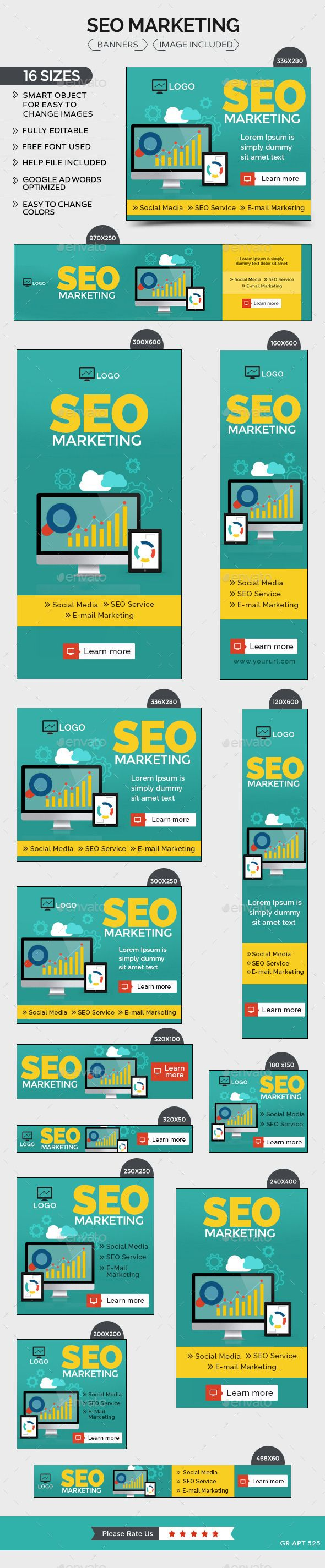 SEO Marketing Banners - Banners & Ads Web Template PSD. Download here: http://graphicriver.net/item/seo-marketing-banners/11007263?s_rank=1766&ref=yinkira
