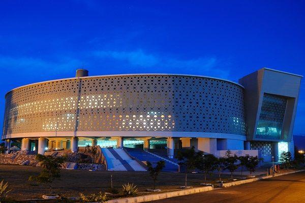 Museum tsunami at night