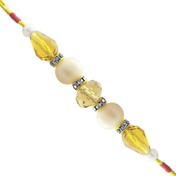 Jpearls Fresh Water Pearl Rakhi with Button Pearls, CZ Stones and Semi Precious Stones #rakshabandhan #jewellery #rakhigifts #rakhis #brother