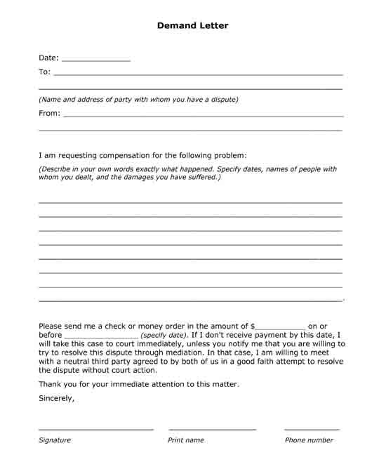 15 best Free Printable Legal Letters, Agreements and Useful Forms - demand letters