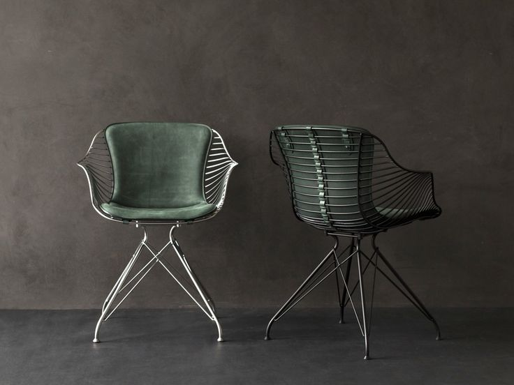 Leather chair with armrests WIRE DINING CHAIR by Overgaard & Dyrman