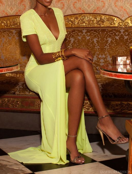 Sophisticated style and love it! Beautiful slit, long yellow dress.