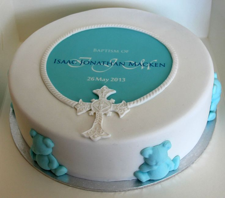 Single Tier Teddy & Cross Baptism Cake Like us at www.facebook.com/melianndesigns