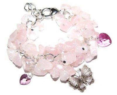 Bransoletka Kwarc Różowy i Swarovski #Swarovski #jewelry #bizuteria