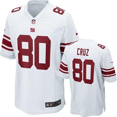 Victor Cruz Jersey: Away White Game Replica #80 Nike New York Giants Jersey