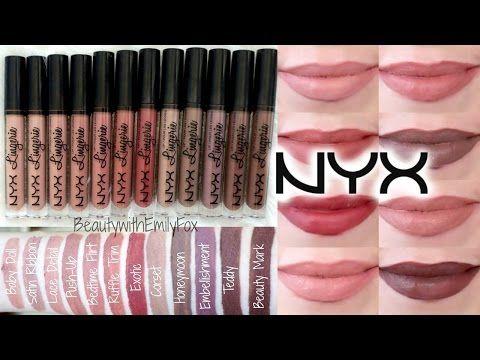 NYX Lip Lingerie Liquid Lipstick + Lip Swatches | Beauty with Emily Fox - YouTube