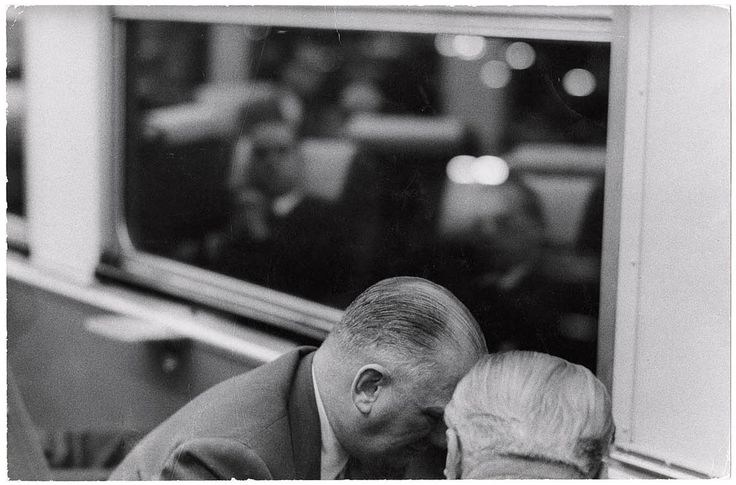 Robert Frank, Businessmen conferring aboard the Pennsylvania's Afternoon Congressional (formerly known as the Congressional Limited) commuter train, 1955